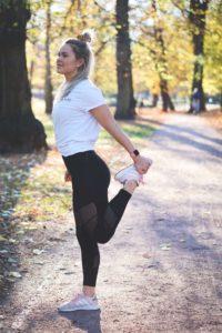 get more flexible-standing quad stretch