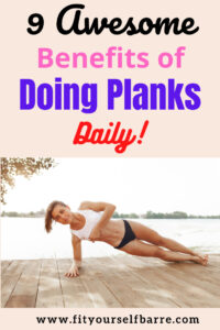 Benefits doing planks daily- a woman doing a side plank