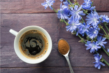 Chicory coffee drink with blue flowers